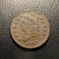 1812 SMALL DATE CLASSIC HEAD LARGE CENT CHOICE EXTRA FINE /AU ABOUT UNC TYPE COIN EAC