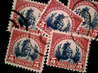 U S STAMPS SCOTT 573 FIVE DOLLAR LIBERTY ISSUE USED 5 COPIES
