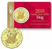 2018 LUNAR YEAR OF THE DOG 50 CENTS GOLD PLATED COIN WMF MIN