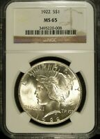 1922 P NGC MINT STATE 65 PEACE SILVER DOLLAR  UNCIRCULATED  GREAT SET FILLER 008