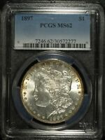 1897 P PCGS MINT STATE 62 MORGAN SILVER DOLLAR  UNCIRCULATED  GREAT SET FILLER 277