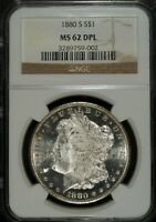 1880 S NGC MINT STATE 62 DMPL MORGAN SILVER DOLLAR  UNCIRCULATED  GREAT FOR SETS 002