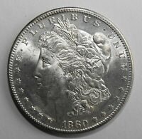 1880-S MORGAN SILVER DOLLAR, UNCIRCULATED WITH LIGHT TONING ON RAISED AREAS