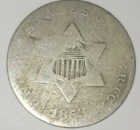 1853 THREE CENT SILVER,   GOOD,  3 CENT TRIME,   SHIPS FREE DAILY