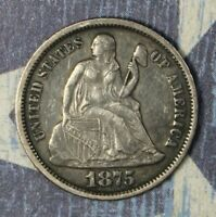1875 SEATED SILVER DIME COLLECTOR COIN. SHIPS FREE