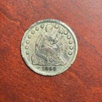 1858 SEATED LIBERTY HALF DIME, FINE COIN, SHIPS FREE