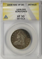 1838 CAPPED BUST HALF DOLLAR SILVER 50C VF 30 DETAILS ANACS