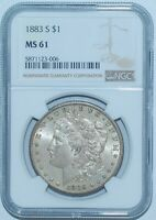 1883 S NGC MINT STATE 61 MORGAN SILVER DOLLAR