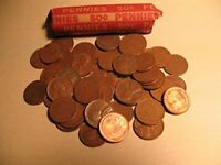 WHEAT CENT ROLL 50 COINS MIXED YEARS & MINTS CIRCULATED GOOD OR BETTER IN CO