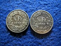 1920 & 1921 SWITZERLAND SILVER 1/2 FRANC'S -  CIRCULATED