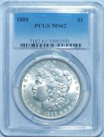1888 P PCGS MINT STATE 62 VAM-11A DOUBLED EAR AND CLASH TOP-100 MORGAN SILVER DOLLAR