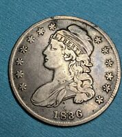 1836 50 CENT CAPPED BUST HALF DOLLAR