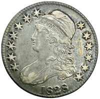 1828 SQUARE 2 SMALL 8 LARGE LETTERS CAPPED BUST HALF DOLLAR