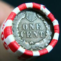 INDIAN HEAD PENNY REVERSE SHOWING ON END OF 50 COIN WHEAT CE