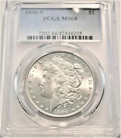 1890 S $1 PCGS MS 64 MORGAN SILVER DOLLAR UNCIRCULATED BETTE