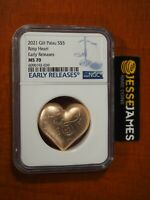 2021 $5 PALAU GILT SILVER ROSY HEART NGC MS70 EARLY RELEASES