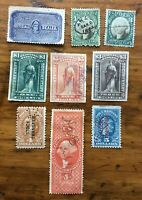 9 USED REVENUE & OTHER BOB US STAMPS