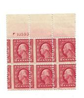 U S STAMPS EFO SCOTT 499 TWO CENT PLATE BLOCK OF 6 MISPERFOR
