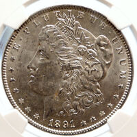 1891 P UNITED STATES OF AMERICA SILVER MORGAN US DOLLAR COIN EAGLE NGC I95551