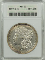 1897-O MORGAN DOLLAR, ANACS AU-50, ATTRACTIVE, STRONG UNDERLYING LUSTER, OWH