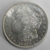 1921-D MORGAN SILVER DOLLAR, ABOUT UNCIRCULATED