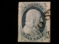 U S STAMPS SCOTT 9 ONE CENT FRANKLIN IMPERFORATE USED CV 95.