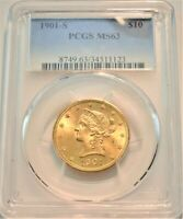 1901 S $10 PCGS MS 63 GOLD LIBERTY EAGLE CHOICE UNCIRCULATED