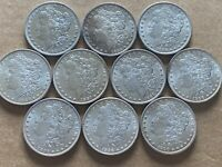 10 BU MORGAN SILVER DOLLAR COINS PARTIAL ROLL 1884-1900 DIFFERENT YEARS / MINTS