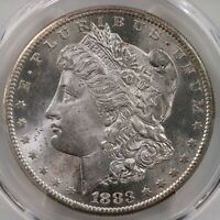 1883-S MORGAN $1 PCGS CAC CERTIFIED MINT STATE 64 PLUS GRADED SAN FRANCISCO DOLLAR