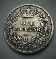 1860 VICTORIA SILVER SHILLING  COIN LOVELY COIN  HIGH 6 OVER