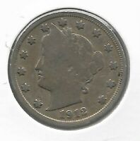 1912 RARE VERY OLD ANTIQUE US LIBERTY NICKEL COLLECTION COIN