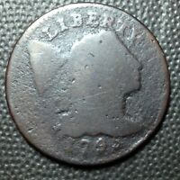 1795  LETTERED EDGE  LIBERTY CAP  FLOWING HAIR LARGE CENT   ONLY 37K MINTED