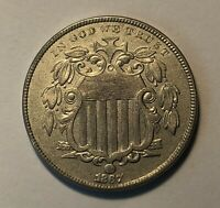 1867 SHIELD NICKEL AU ABOUT UNCIRCULATED