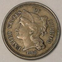 1868 3 CENT PIECE EXTRA FINE   VINTAGE COIN A170