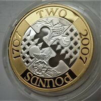 2007 ROYAL MINT SILVER PROOF 2 ACT OF UNION LOVELY COIN  SEE