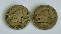 2X 1858-SL & 1858-LL FLYING EAGLE CENT COINS FINE - LOT OF 2