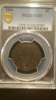 1801 DRAPED BUST LARGE CENT   PCGS VF35  TOUGHER EARLY COPPER