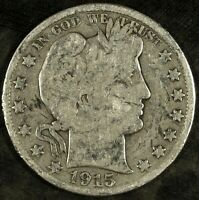 1915 D BARBER SILVER HALF DOLLAR  CIRCULATED  GREAT FOR SETS 493