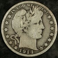 1914 S BARBER SILVER HALF DOLLAR  CIRCULATED  GREAT FOR SETS 495