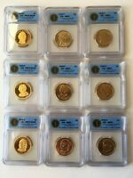 2008-P-D-S  PRESIDENTIAL DOLLARS, ICG PR70-DCAM & ICG MINT STATE 67, PROOF & UNC. COINS