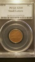 1858 SMALL LETTERS FLYING EAGLE CENT  PCGS EXTRA FINE 45