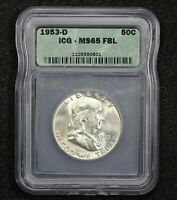 1953-D FRANKLIN HALF DOLLAR FULL BELL LINES ICG MINT STATE 65 1EXTRA FINE M