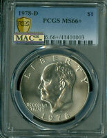 1978-D EISENHOWER DOLLAR PCGS MINT STATE 66 MAC SPOTLESS ONLY 4 MINT STATE 67 AT $10,000.00 .