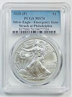2020-P $1 SILVER EAGLE PCGS MS70 EMERGENCY ISSUE STRUCK AT PHILADELPHIA