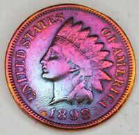 1898 INDIAN HEAD PENNY CENT COIN,BEAUTIFUL VINTAGE COIN