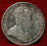 1910 CANADA 5 CENTS SILVER FOREIGN COIN