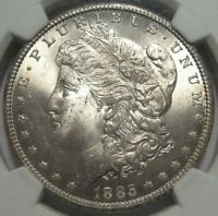 1885-CC MINT STATE 63 NGC MORGAN DOLLAR, CERTIFIED, CARSON CITY, SHIPS FREE