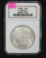 1884 MORGAN DOLLAR VAM-2A CLASHED E NGC MINT STATE 63 1ALM