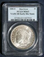 1888-O MORGAN SILVER DOLLAR PCGS MINT STATE 63 VAM 1B EARLY DIE STATE EDS L-08105