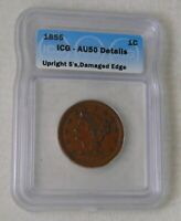 1855 BRAIDED HAIR LIBERTY LARGE CENT ICG AU50 DETAILS
